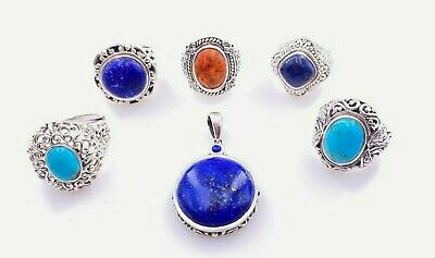 $ CDN189.34 • Buy Signed Nk Sterling Silver 925 Turquoise Coral Lapis Lazuli 5 Rings & Pendant Lot