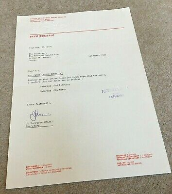 £5.99 • Buy 1986 Bristol City FC Original Letter On Headed Paper As Sent To FA, HAND SIGNED