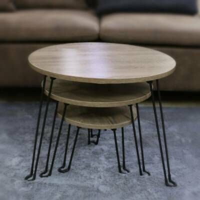 3 Pcs Nesting Coffee Table Industrial End Side Table Stacking Folding Metal Legs • 41.99£