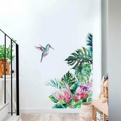 Wallpaper Decal Wall Stickers Tropical Leaves Flowers Bird Bedroom Living Room • 3.27£