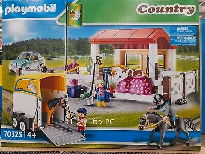 Playmobil Infant Country Farm Play Set 70325 Stables , 4 Figures And 3 Horses • 39.99£