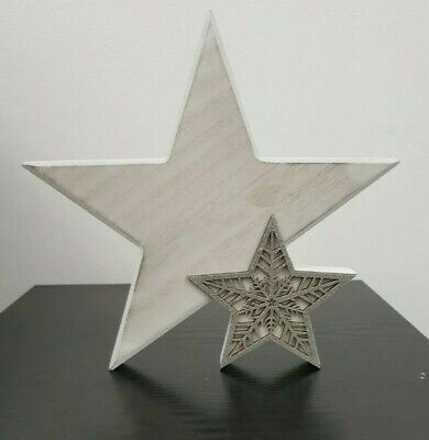 25cm Star Ornament Sculpture Wooden Free Standing Star Decoration Gift Home  • 17.95£