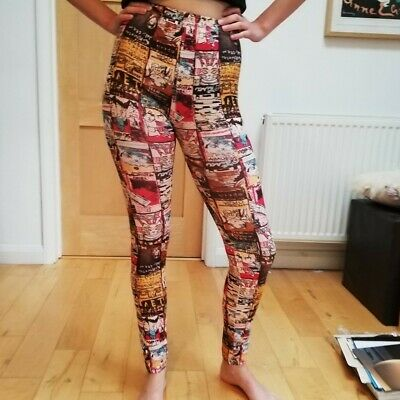 Abstract Patterned Full Length Tight Cartoon Lucky Cat Leggings Size Small S • 4.90£