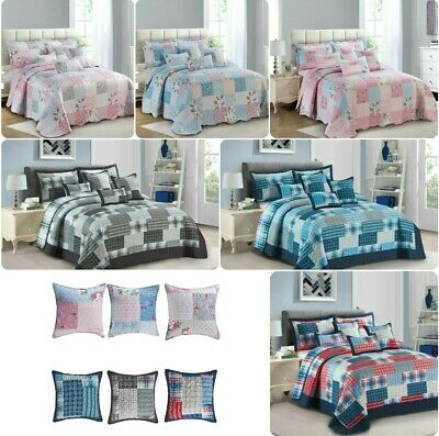 £27.55 • Buy 3 Piece Quilted Bedspread Patchwork Throw Double & King Size Printed Bedding Set