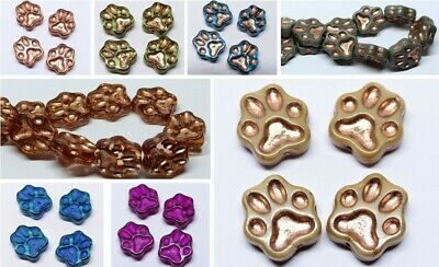 13mm Large Czech Pressed Glass Animal Dog Paw Print Spacer Beads - (4pcs) • 3.39£
