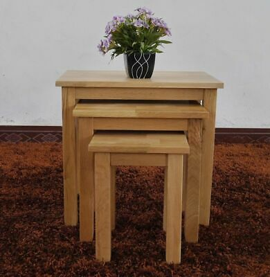 Nest Of 3 Solid Oak Table Tea Coffee Paper Side Lamp Living Bed Room Handmade • 79£