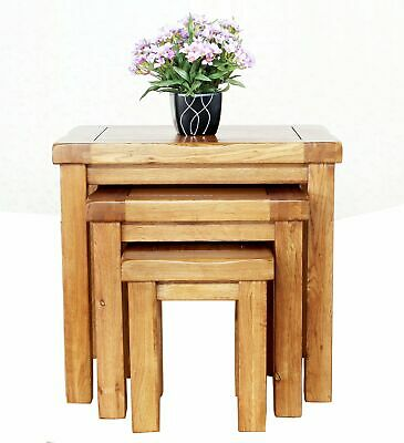 Rustic Oak Nest Of 3 Tables Solid Oak Living Room Furniture Handmade Lamp Table • 129£