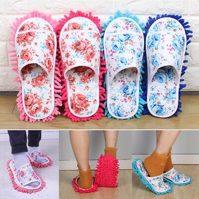 Lazy Dust Mop Slippers Microfiber Soft Wearable Bathroom Floor Dusting Shoes • 6.88£