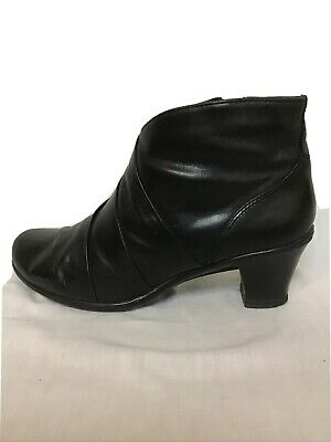Ladies Pavers Comfort Black Leather Ankle Boots Size 39 Uk 6 • 10.99£