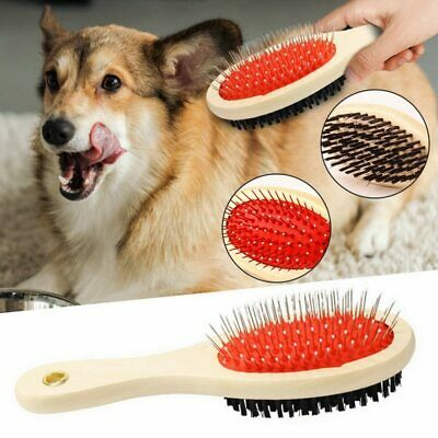 Pet Dog Cat Hair Grooming Double Sided Brush Comb Removal Cleaning Tool Wooden • 4.89£