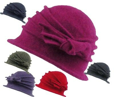 Ladies Wool Cloche Hat With Bow 100% Wool Super Soft Feel Winter Wedding Hat • 13.95£