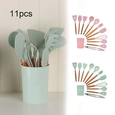 £14.59 • Buy 11pcs Silicone Kitchen Utensils Cookware Set Nonstick Baking Cooking Spoon Tools