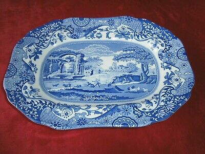 SPODE ITALIAN BLUE & WHITE SMALL MEAT PLATE Or  DISH ~ 27 CM • 10£