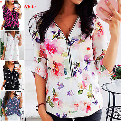 Womens Floral Print  V Neck Tops Ladies Casual Long Sleeve Zip Up Blouse Tee • 9.99£