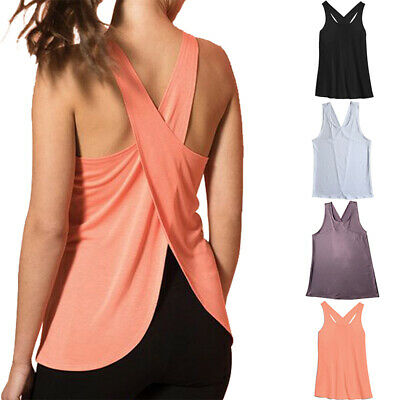 Womens Open Back Yoga Top Shirt Tank Vest Sports Gym Quick Dry Workout Athletic • 7.49£