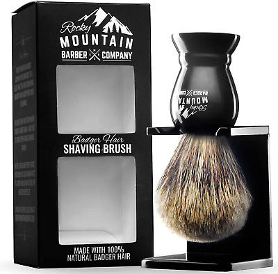 Shaving Brush With Stand - Rocky Mountain Barber Pure 100% Best Badger Hair B... • 21.68£