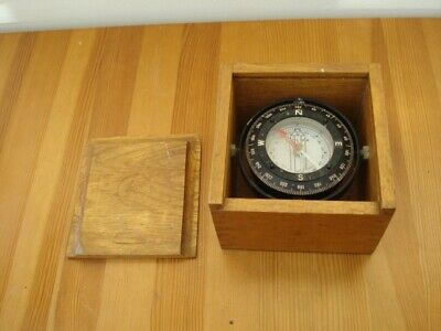 Silva Ship/boat Steering Compass Gimballed In An Oak Box. Made In Sweden • 40£