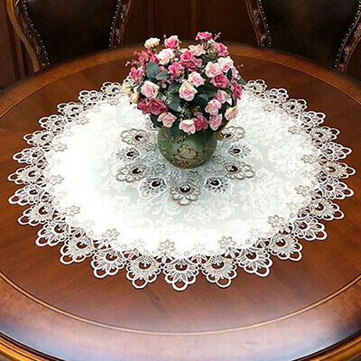 Round Tablecloth Lace Floral Table Cover Dustproof Home Festival Table Cloth • 5.49£