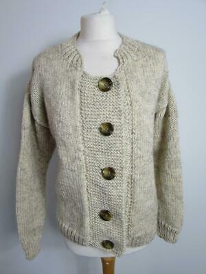 Ladies Beige Wool Hand Knitted Chunky Knit Boxy Cardigan Size L UK 18 • 9.99£
