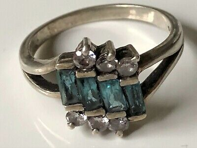 Vintage Art Deco Sterling Silver '925' Clear/blue Stone Dress Ring Band Size T • 12.99£