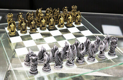AU108.09 • Buy Ebros Silver Gold Fantasy Dungeons And Dragons Resin Chess Pieces Glass Board