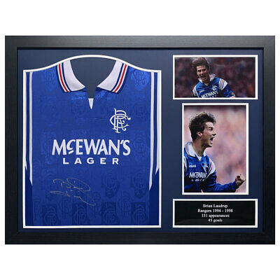 Brian Laudrup Signed Framed Glasgow Rangers Football Shirt • 249.99£