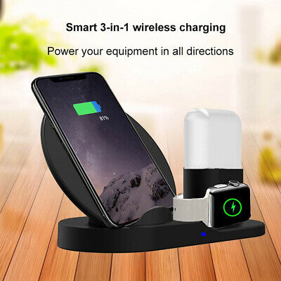 AU25.99 • Buy 3in1 Qi Wireless Charger Fast Charging Dock Stand For Airpods Apple Watch