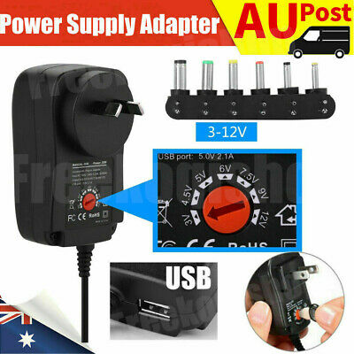AU10.39 • Buy Adjustable Power Supply Adapter Converter AC DC 30W 3V 4.5V 5V 6V 7.5V 9V 12V Fk