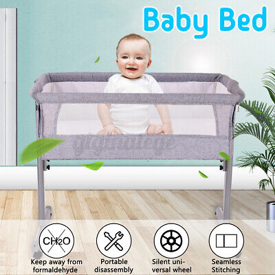 Baby Bedside Crib W/ Mosquito Net & Mattress Toddler Cot Side Sleeping Bed UK • 71.51£