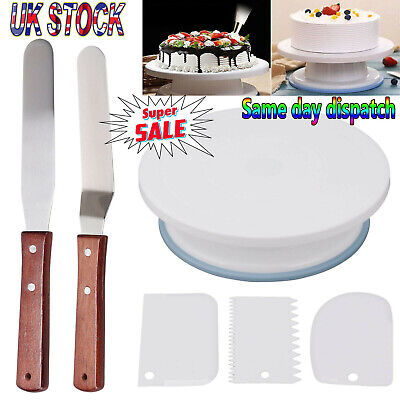 Cake Decorating Turntable 11 -24 Icing Nozzles-Mould-Pen-Spatula-Bags-Tools Set • 8.29£