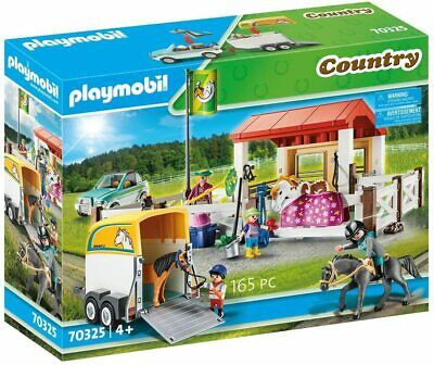 Playmobil Country Farm Play Set 70325 Car Trailer Stables 4 Figures And 3 Horses • 39.99£