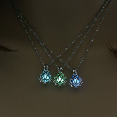 $ CDN6.01 • Buy Luminous Glowing Lotus Flower Shaped Pendant Women Yoga Prayer Buddhism Jewelry