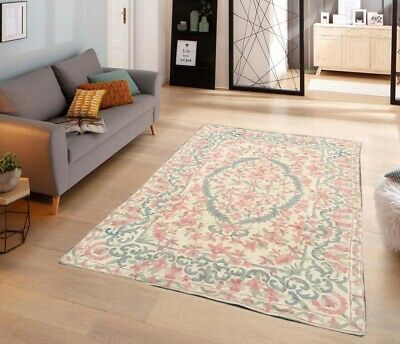 245 Vintage Aubusson Rug Handwoven Floral Needle Point Home Decoration Rug 4x2 • 60£