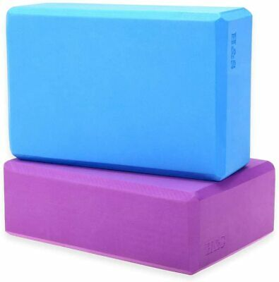 H&S 2 X Yoga Block High Density EVA Foam Brick Eco Friendly Purple Blue, New • 11.99£