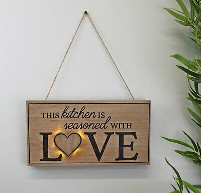 3D LED Fir-wood Kitchen Wall Hanging Plaque This Kitchen Is Seasoned With Love  • 12.49£