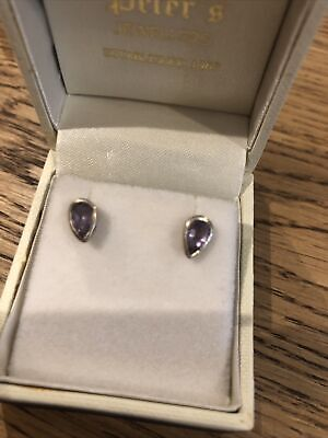 Sterling Silver Amethyst Stud Earrings • 4£