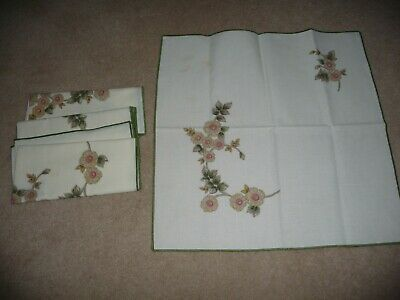 "Set Of 4  LINEN  Fabric Cloth Napkins - Floral - 16"" X 16"" - Lovely Set • 4£"