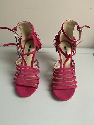 Womens Zara Magenta Pink Faux Suede Strappy High Heel Sandals Shoes Uk 4 • 1.20£