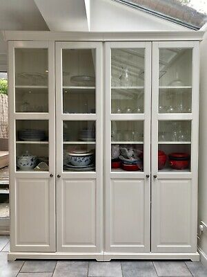 White Cabinet / Bookcase With 4 Glass Doors • 350£