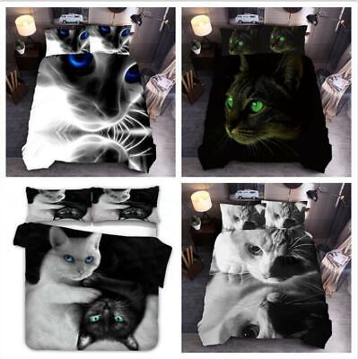3D Serious Cat Animal Quilt Duvet Cover Bedding Sets Single Double King Size UK • 28.94£