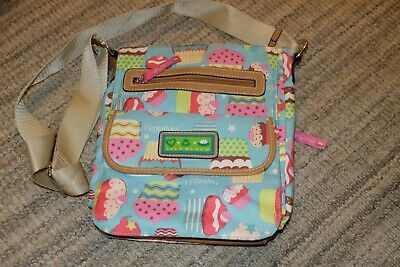Lily Bloom Cupcake Oil Cloth Cross Body, Messenger Bag, Tablet Conpatment • 15£