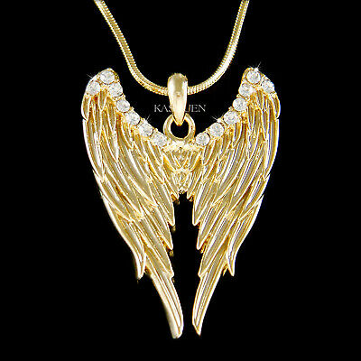 ANGEL WINGS Made With Swarovski Crystal HOLLYWOOD Fairy Gothic Gold Necklace New • 28.94£