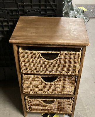 Small 3 Drawer Rattan Storage Unit/drawers Kitchen Shabby Chic Upcycle • 6.99£