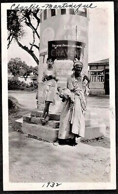$5 • Buy Antique Vintage Photograph Woman & Young Boy Standing By Post - Martinique 1932