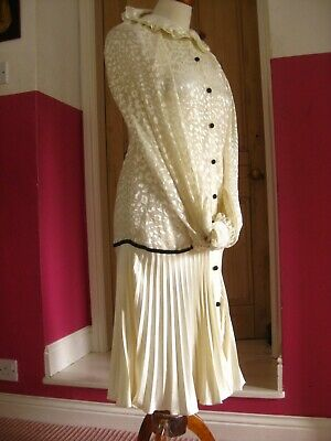 TOPSHOP VINTAGE 20s Dress Tennis Flapper Gatsby Duster Coat UK 6 8 Ivory Gown • 174.99£