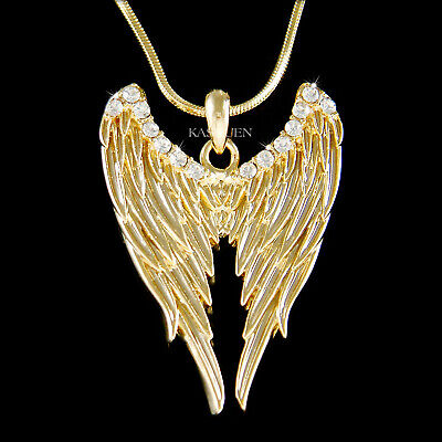 ANGEL WINGS Made With Swarovski Crystal HOLLYWOOD Fairy Gothic Gold Necklace New • 34.49£