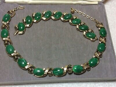 Lovely  Vintage Signed Crown Trifari Necklace And Bracelet In  Nice Condition • 95£