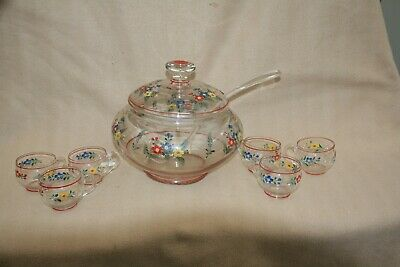 £65 • Buy LARGE VINTAGE RETRO 1960s HAND ENAMMELLED PUNCH BOWL 6 CUPS AND LADLE