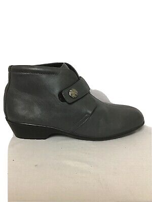 Ladies Pavers Grey Leather Ankle Boots Size 40 Uk 7 • 8.99£