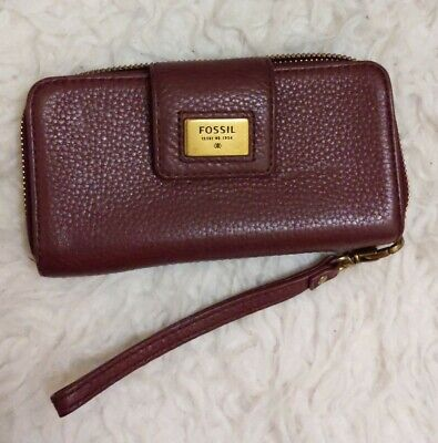 Fossil Purple Leather Purse Wallet With Phone Holder • 10£
